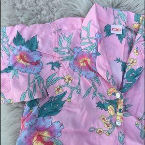 🌺 Vintage OP blouse tropical pink flowers